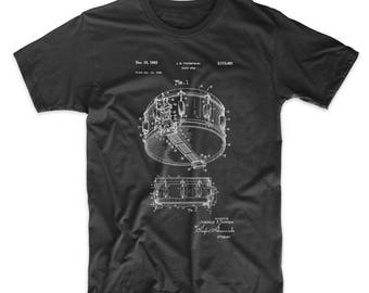 Snare Drum Patent T Shirt, Drummer Gift, Music T Shirt, Percussion, Drum Shirt, PP1018 Z1016