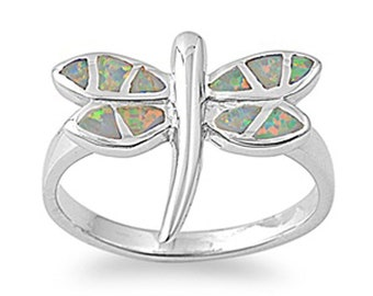 Women 16mm 925 Sterling Silver Simulated White Opal Dragonfly Ring Band(SNRO150226-WO)
