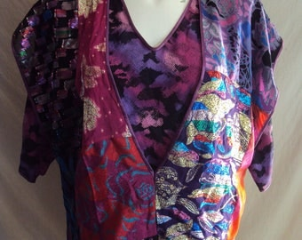 Vintage up cycled Maggie Shepherd blouse multi coloured lurex patchwork pink purple size medium 14