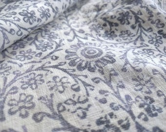 Organic Linen Fabric, Boho Indian Print | Soft, stonewashed linen with grey block print design, natural white with grey linen, digital print