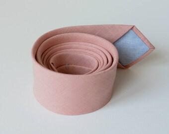 Dark Blush Linen Necktie- Rose Tea Linen Necktie - Blush Wedding Ties- Pink Groomsmen  Neckties - Blush tie and pocket square