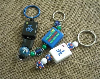 Mahjong Pendant - Mahjong Purse Charm - Oriental Key Ring - Mahjong Key Ring - Free Shipping - Mahjong Gift