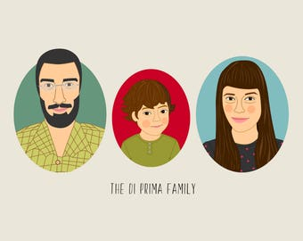 Cartoon family portrait. Custom Family Illustration. Portrait from photo. Fathers and mothers day gift.