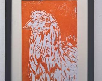 Morning Cockerel (Orange) A4 Linocut Print