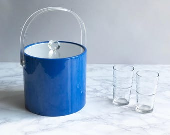 Blue Vinyl Ice Bucket with Lucite Lid And Handle