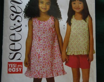 See and sew B5442, sizes 1-2-3, girls, top, dress and shorts, UNCUT sewing pattern, craft supplies
