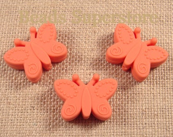SALE 30 mm x 22 mm Salmon Orange Silicone Butterfly Bead - Food Grade Teething Bead - Teething Necklace Silicone Bead