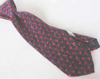 Vintage ERMENEGILDO ZEGNA Man's Necktie-Black with Red Flower on Green Stem Pattern-100% Luxurious Silk Made in Italy