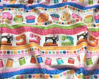 Sew Retro Border 750 for Makower UK Patchwork, Quilting, Dressmaking Fabric