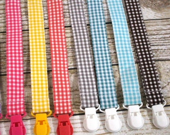 Pacifier Clips with plastic clip, Gingham Pacifier Clips - Binky Clip, Mam Gumdrop Nuk Avent Soothie Binky Clips, Buffalo Check, Plaid