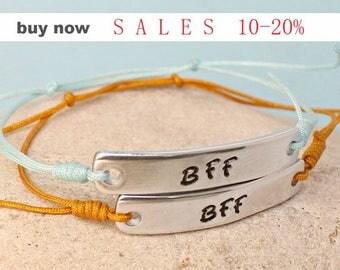 Personalized Best Friends Forever Bracelets - BFF Bracelets - Custom - Best Friend Gift Ideas