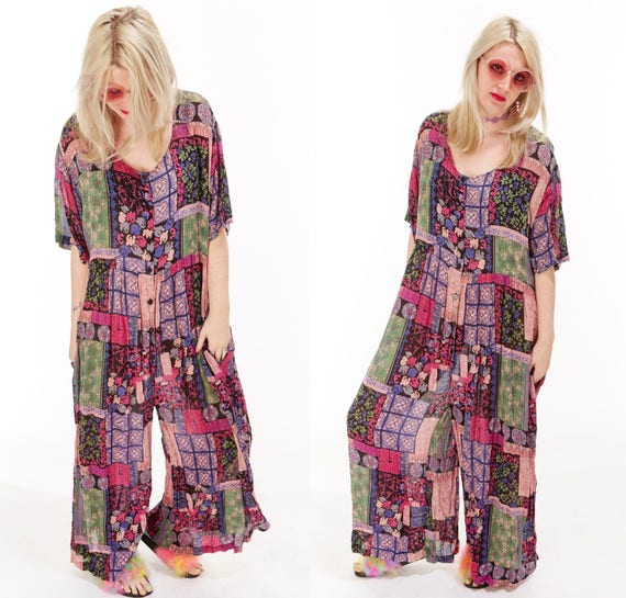 Vtg 90s PATCHWORK Draped One Piece JUMPSUIT Maxi Onesie Semi Sheer GRUNGE Caftan Coverup Palazzo Pants Loungewear Boho Gauze Mixed Print os
