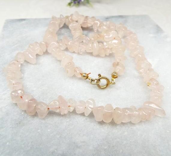 Vintage / Light Pink Rose Quartz Shard Chip Polished Gemstone Necklace Chain