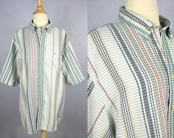 Vintage 70s Men's Shirt 80s Plaid Shirt Button Down Shirt Rockabilly Shirt Striped Shirt BOHO Shirt Retro Shirt Short Sleeve HIPSTER Shirt