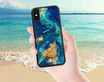 Marble iPhone Case, Blue Gold, iPhone 8 plus Case, iPhone 7 Plus Case, iPhone 7 Case, iPhone X Case, iPhone 6 Case, iPhone 8 Case, Cute 1333