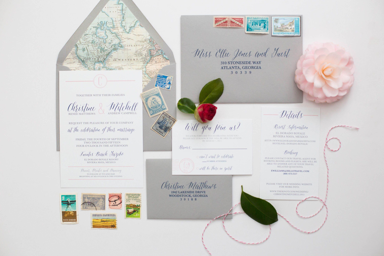 Map Themed Wedding Invitations, Travel Invites, Destination Wedding ...