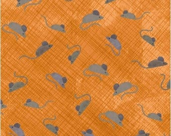 SMARTY CATS - Mice in Tangerine Orange - Cute Mouse Cotton Quilt Fabric - Maria Carluccio for Windham Fabrics - 42839-6 (W3841)