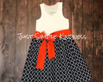 Girls Navy Dress, Girls Fall Dress, Girls Dresses, Toddler dress, Girls' Clothing, Navy Orange Dress, girls summer dress, beach dress, baby