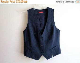 ON SALE Navy Blue Vest Womens Navy Vest Linen Cotton Vest Linen Waistcoat Medium Size