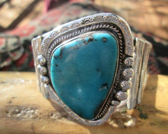Vintage Turquoise and Sterling Silver Cuff Bracelet