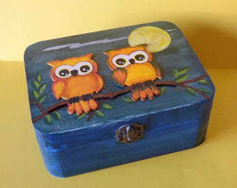 Owls painting Decorative wooden box OOAK Owls Art Painted wood box Keepsake wood box Wildlife painting Owls art