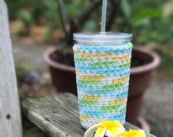 Cup Cozy Fits Starbucks Venti or Dunkin Medium Iced Drinks Keep your Drink Cold and your Hand Dry Crochet