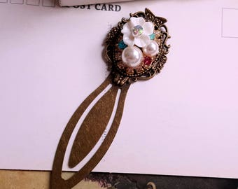 Antiqued metal clip bookmark Pearl and rhinestone assemblage Gift bookmark White flower