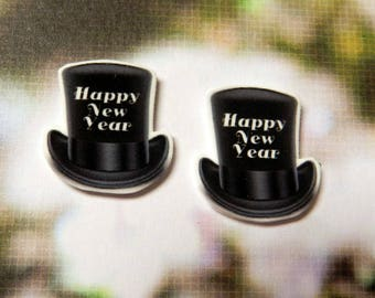 Black Top Hat Happy New Year Post Earrings W/ Nickel Free Backs New Years Eve Party Dec 31st Celebration