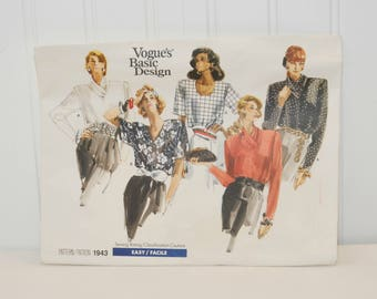 Vintage Vogue's Basic Design 1943 Woman's Blouse (c. 1987) Misses' and Half Sizes 8-12, Misses' Loose Fitting Pullover Blouse, Retro Style