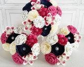 Paper Flower Wedding Origami Rose Bouquet raspberry hot bright pink cranberry navy midnight navy blue sheet music theme alternative