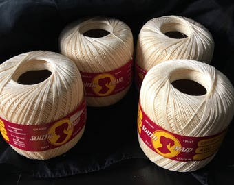 6 South Maid 100% Mercerized Cotton crochet thread  set of 6 unopened Vintage Lace Weight  Yarn 400 Yards 365M EACH Cream #430