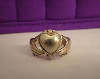Silver Claddaugh Poison Ring - size 10 1/2