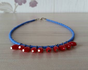 Beaded Blue Choker, Red Bead Drops Necklace, Dainty Seed Bead Necklace, Blue and Red Choker, Minimal Necklace