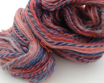 Handspun Colombia/Rambouillet yarn, 2 ply wosted weight