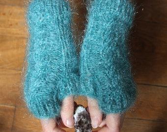 Mitaines Bleu clair tricotées avec motif torsade - Femme