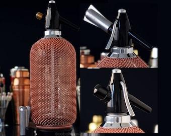 Soda Siphon Seltzer Bottle Vintage Copper / Bar Cart & Home Bar Accessories