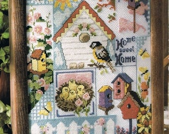 CROSS STITCH PATTERN - Birdhouse Home Sweet Home Cross Stitch Pattern - Bird Cross Stitch - Song Bird Chart