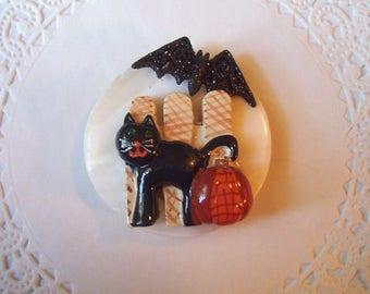 Halloween Magnet (811) - Black Cat Magnet - Bat Magnet - Repurposed Jewelry - Holiday magnet - hostess gift - refrigerator magnet