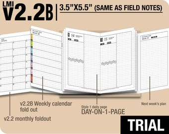 Trial [FIELD NOTES v2.2B w DS1 do1p] December 2017 to February 2018 - Midori Travelers Notebook Refills Printable Planner.