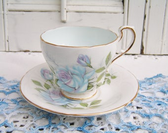 Vintage Rosina Blue Moon Demitasse Cup and Saucer Blue Roses English Bone China Tea Party Cottage Chic Tea Cup Set