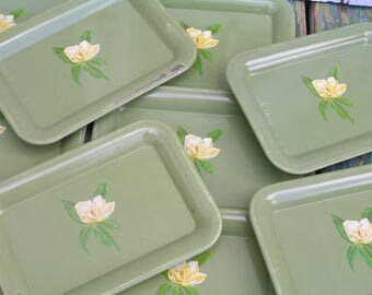 10 Vintage Tin Tip Trays in Moss Green with Magnolia Flower Flower Pattern Metal Tip Tray Set Floral Tins Cottage Chic