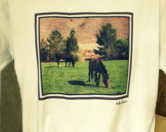 FOR THE HORSE Lover: A Crew neck style T-shirt created by Pam Ponsart of Pam's Fab Photos in your choice of  3 Colors