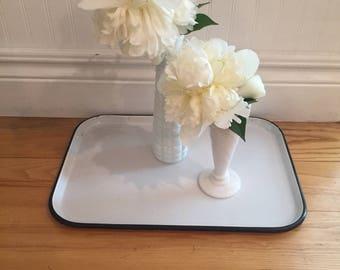 Enamel Tray, Enamelware Tray, Black & White Enamel Tray, White Enamel tray.