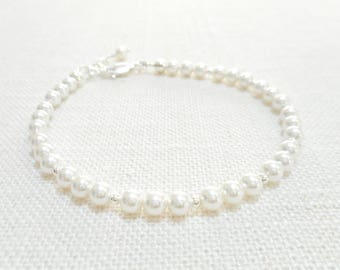 Dainty White Pearl Bracelet, Swarovski Crystal Sterling Silver Jewelry, Beaded Bracelet, Bridal Bracelet, Wedding Jewelry, Gift for Her