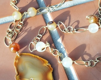 Agate Stone Linked Necklace