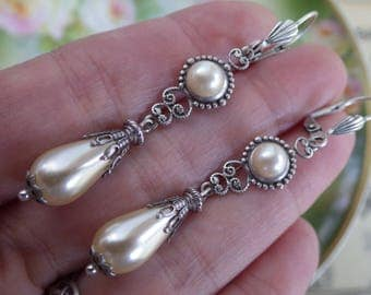 Vintage Style ~ Silver Pearl Earrings ~ Cream Pearl ~ Vintage Glass ~ Boho ~ Victorian Style ~ June Birthday ~ by LadyofTheLakeJewels