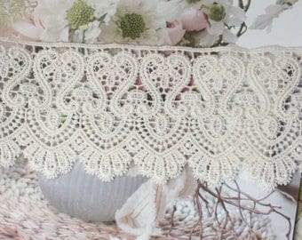 Embroidery scalloped Fabric Cotton Net Lace Trim 7cm wide #407