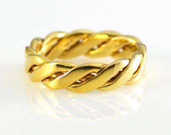 14k Yellow Solid Gold Heavy Twisted Hand Woven Band