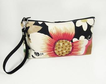Floral Makeup Bag Wristlet - Personalized Makeup Bag - Monogrammed Cosmetic Bag