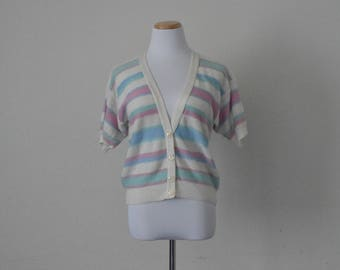 FREE usa SHIPPING Vintage ladies knit striped cardigan/ cover up/ button up/ hipster nerd geek acrylic size S